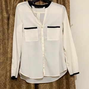 Zara cream business button up blouse